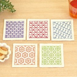 Kit sashiko 5 dessous de verres blancs version 2