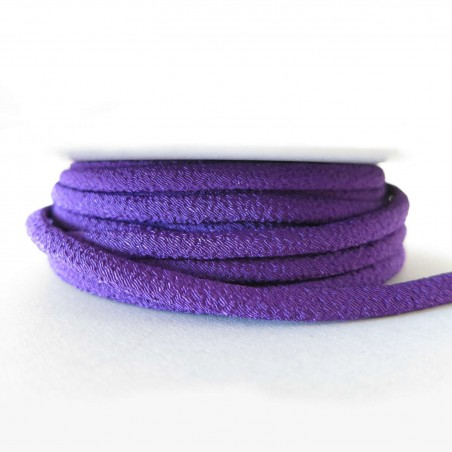 Cordon chirimen violet uni 5mm diamètre vendu au mètre