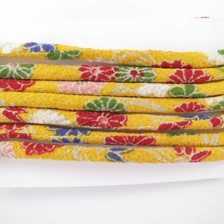 Cordon chirimen jaune fleurs 5mm diamètre vendu au mètre