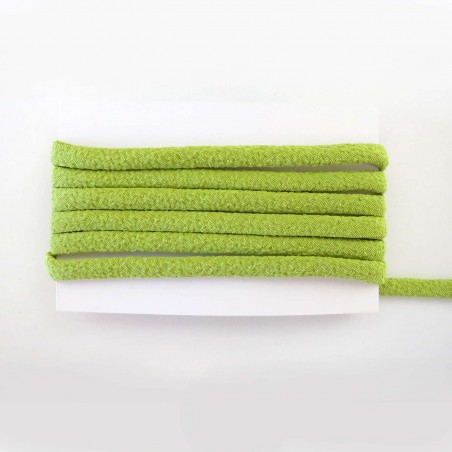 Cordon chirimen vert uni 5mm diamètre vendu au mètre