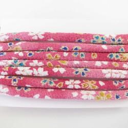 Cordon chirimen rose foncé fleurs 5mm diamètre vendu au mètre
