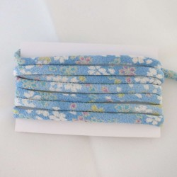 Cordon chirimen bleu ciel fleurs 5mm diamètre vendu au mètre
