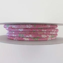 Cordon chirimen rose fleurs 5mm diamètre vendu au mètre