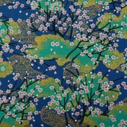 Tissu bleu, vert et doré...