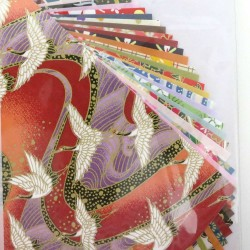 Papier origami japonais 15x15cm 20 unis 20 motifs