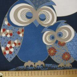 Panneau de tissu motif de hiboux sous la lune 110cm haut x 48cm large