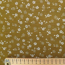 Tissu japonais réversible pour furoshiki fleurs de cerisier marron ocre asanoha vert sapin