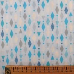 Tissu double gaze bleu ciel motifs géométriques