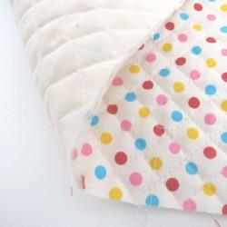 Tissu coton matelassé blanc cassé pois colorés