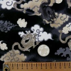 Tissu chirimen noir dragons et nuages