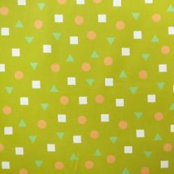 Velours côtelé jaune moutarde ronds carrés triangles