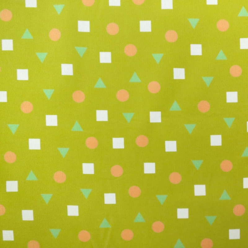 Mustard yellow corduroy with salmon pink circles, white squares and light green green triangles