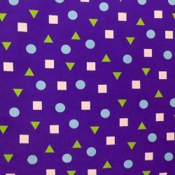 Velours côtelé violet ronds carrés triangles