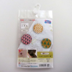 Kit broderie kogin 3 boutons recouverts moutarde et bleu nuit