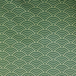Tissu japonais vagues dorées sur fond vert foncé olive