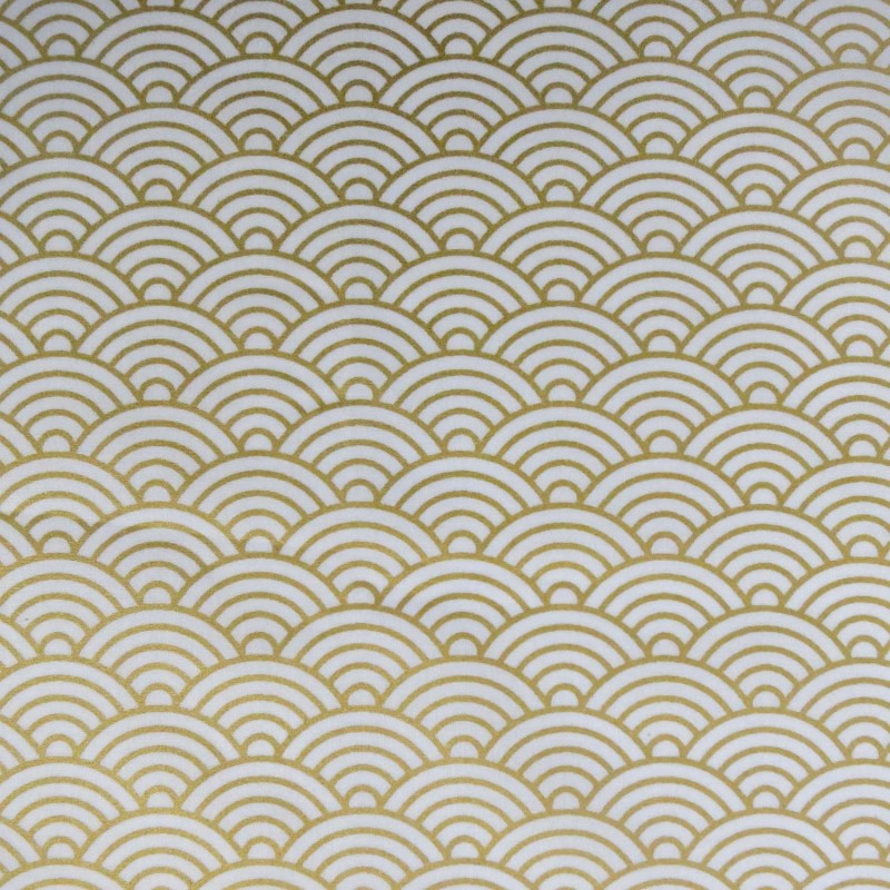 Tissu japonais grandes vagues dorées sur fond blanc