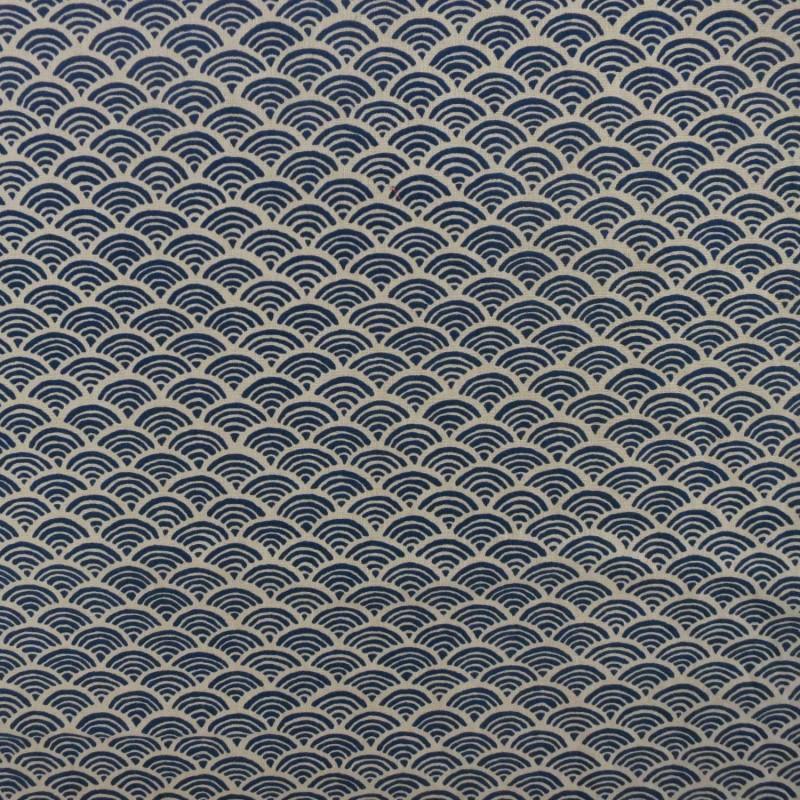 Tissu coton petites vagus écrues et bleu nuit