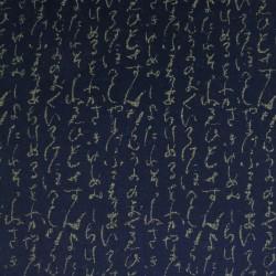 Tissu japonais bleu nuit indigo motifs écriture japonaise hiragana
