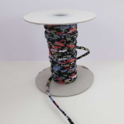 Cordon coton noir fleurs 2mm diamètre vendu au mètre