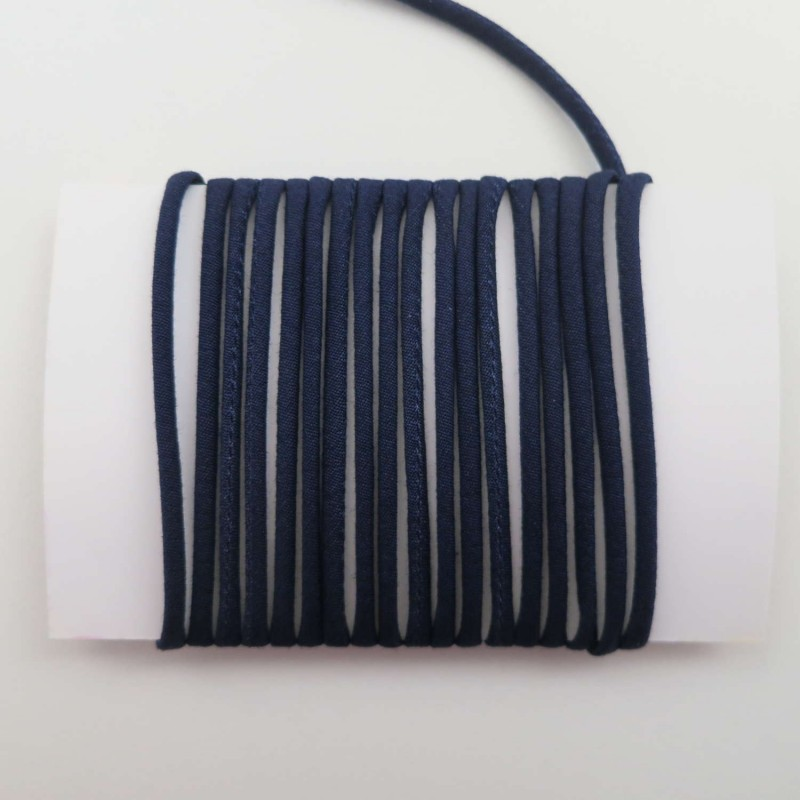 Cordon coton bleu nuit uni 2mm diamètre vendu au mètre