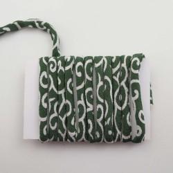 Cordon chirimen vert motifs karakusa 5mm diamètre vendu au mètre