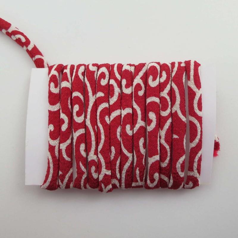 Cordon chirimen rouge motifs karakusa 5mm diamètre vendu au mètre