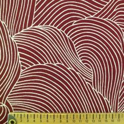 Tissu chirimen rouge bordeaux grandes vagues écrues