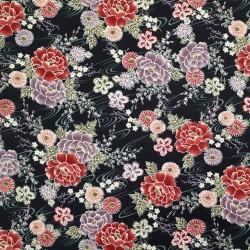 Tissu noir gaufré motifs de fleurs framboise et lila