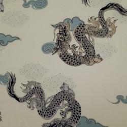 Tissu blanc crème motif de dragons