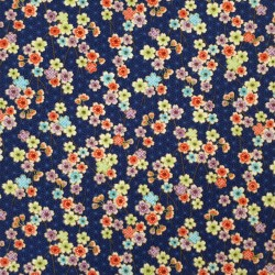 Tissu bleu foncé  asanoha et petites fleurs