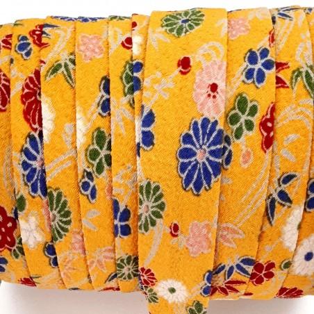 Biais en chirimen jaune à fleurs 2m long 20mm large