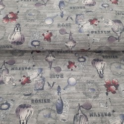 Grey romantic fabric with perfume and beauty accessories patterns