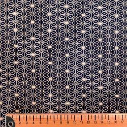 Tissu japonais bleu nuit et écru petit asanoha