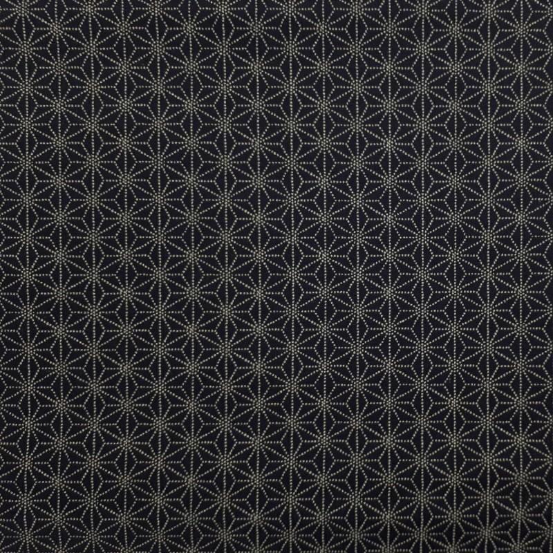 Tissu japonais bleu nuit motifs asanoha points