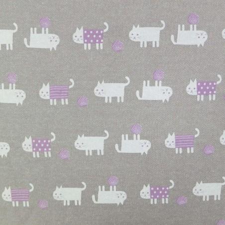 Tissu sweat épais gris beige chats blancs et mauves (largeur 92cm)