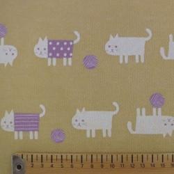 Tissu sweat épais jaune sable chats blancs et mauves (largeur 92cm)