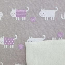 Tissu sweat épais gris chats blancs et mauves (largeur 92cm)