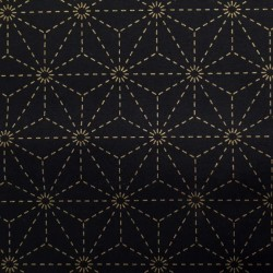 Toile sashiko noire motifs asanoha