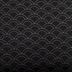 Toile sashiko noire motifs seigaiha