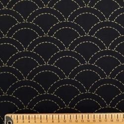 Toile sashiko imprimée noire motifs seigaiha