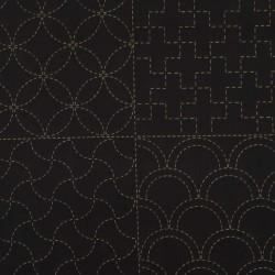 Panneau toile sashiko noire 8 motifs (60x113cm)