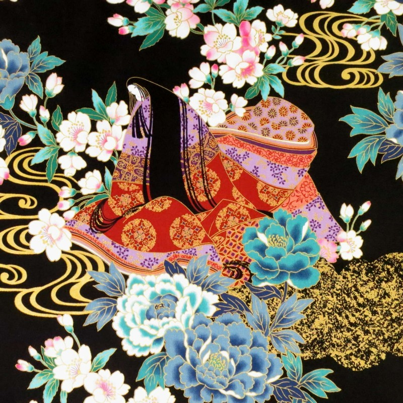 Black fabric with Japanese ladies in kimono with flowers