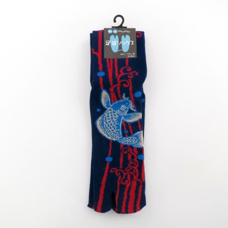 Chaussettes tabi bleu foncé motifs carpes pointure 39 à 43