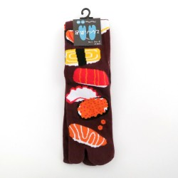 Chaussettes tabi marron motifs de sushi pointure 39 à 43