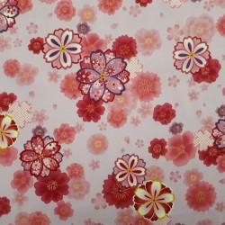 Tissu japonais mauve fleurs de cerisier roses