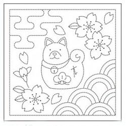 Coupon tissu sashiko blanc pré-imprimé chien