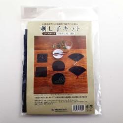 Kit sashiko 6 dessous de verres jolies formes fond bleu nuit