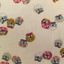 Tissu japonais beige motif hiboux