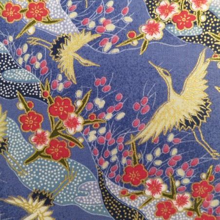tissu grues japonaises fond bleu