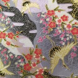 Tissu japonais gris motifs de grues